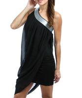 Women Asymmetrical Black Party Race Dress Size 10 12 14 16 18 20 22 NEW Plus