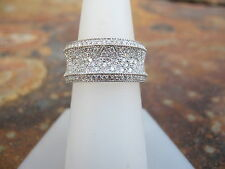 14KT White Gold & Pave Diamond Cigar Band Design Wide Ring X Pattern Pave...NEW