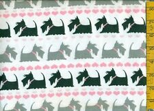 1/2 yard FLANNEL Gray & Black Scotty Scotties Pink Hearts on White BTHY