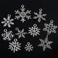 10Pcs Tibetan Silver Mix Christmas Snowflake Charms Pendants J015P