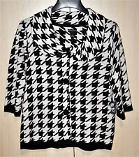 New Directions Black & White Houndstooth Sweater Cardigan Jacket 3/4 Sleeve SzXL