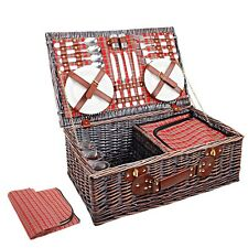 NEW 4 Person Outdoor Camping Picnic Brown Basket Set with Cooler Bag Blanket