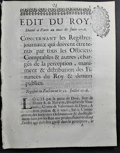EDIT DU ROY Autographe Antoine ANGLANCIER de St Germain Parlement Dauphiné 1716