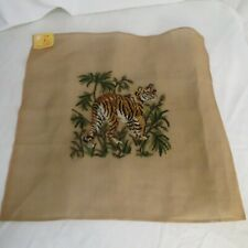VTG Wicker Imports Needlepoint Tapestry Tiger