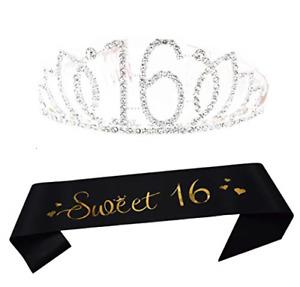 16th Birthday Tiara and Sash Happy 16th Birthday Party Supplies Sweet 16 Black