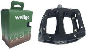 Wellgo LU-A52 Black Alloy Sealed Bearing BMX Mountain Bike Platform Pedals w/Pin
