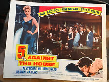 5 Against The House 1955 Columbia crime lobby card Kim Novak Guy Madison