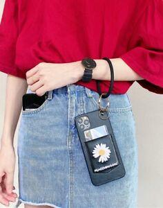 iPhone Case for SE,11,7,8,XR Wristlet Clutch Purse, Daisy Flora Keychain Wallet