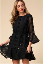WOVEN DOTTED SWISS DRESS