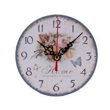 """Holz Rund """"Blumen""""Wanduhr Antik Vintage Retro Stil mit lautlosem Wooden Wand Uhr"""