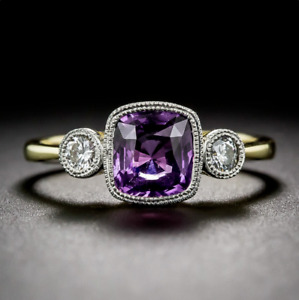 925 Silver Yellow Gold Plated Square Amethyst Gemstone Wedding Engagement Ring