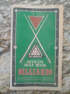 Vintage 1982 Billiard Congress of America Official Rule Book Billiards **READ**