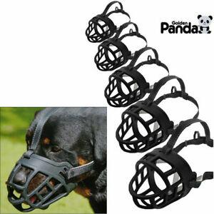 Strong Dog Muzzle Adjustable Basket No Bite Mouth Mask Bark Cage flexible Straps