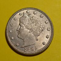 1892 Liberty V Nickel - Choice Brilliant About Uncirculated Great Mint Luster