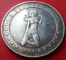 Hobo Nickel 1881 Morgan Dollar Sexy Hot Play Girl Creative Art Token Casted Coin