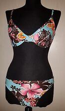 Bikini Zwei-Teiler Badeanzug Retro Style mit Blumenmuster Größe 36 Cup D⭐Neu