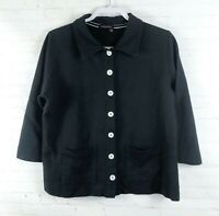 Fresh Produce Women's Size M Black French Terry Buttoned Jacket