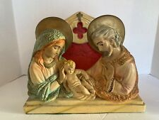Antique Chalk Ware Religious Light Mary Joesph And Jesus W/ Fiber Glass Back