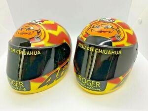 Valentino Rossi Plastic Novelty Helmets x2 (smaller than 1/2 Minichamps) Mmmm