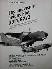 7/1966 PUB FIAT AVIAZIONE FIAT G.91 Y G.222 ITALIAN AIR FORCE ORIGINAL FRENCH AD