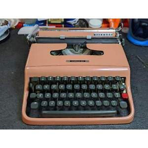 Olivetti Lettera 22 Typewriter Beautifully Powder Coated in Soothing Coral, Work