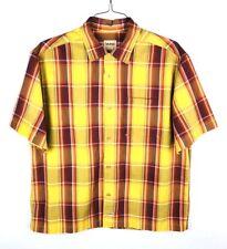 Guess Button Front Shirt Mens Size Large L Short Sleeve Plaid Multi-Color