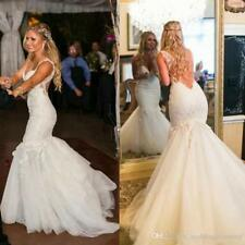 Strap Applique Lace Wedding Dresses White/Ivory Mermaid Bridal Gowns Custom Size