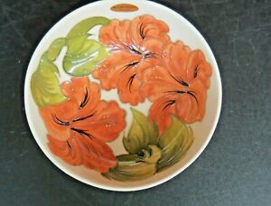 """Moorcroft England 8"""" Footed Hibiscus Art Pottery Bowl Signed"""