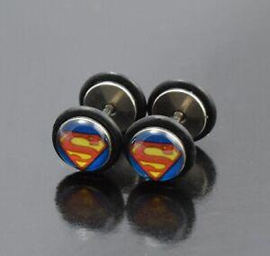 Earring Cheater Superman Superhero Logo Fake Plug O-Seal Piercing Pin 18g
