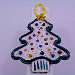 """Christmas Tree Clay Dough 7"""" Ornament Gingerbread Decorated"""