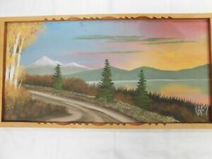 """Antique Landscape Painting on Board 36x17"""" Arts & Crafts Frame STAIN! Signed"""