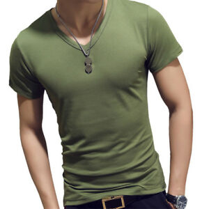 Men V Neck Tops Tee Muscle Shirt Slim Fit Short Sleeve Solid Casual T-Shirt