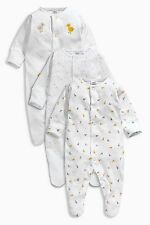 ВNWT NEXT Baby Playsuits Outfit • White Duck Sleepsuits 3pk • 100% Cotton • 3-6m