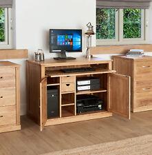Baumhaus Mobel Oak Hidden Home Office Workstation - Solid Oak