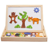 Educational Magnetic 3D Puzzle Double Faced Writing Wooden Board Easel Toy Kids