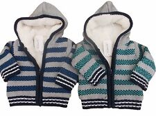 BNWT Baby boys  green or grey striped fur lined hooded jacket cardigan up to 4 Y