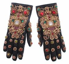 NWT $3700 DOLCE & GABBANA Black Leather Gold Crystal Baroque Wrist Gloves 7 / S