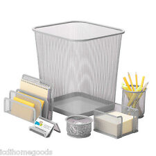 6 pc Silver Steel Mesh Desk Set # OFC-06206 by Honey Can Do