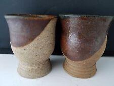 "Vintage Studio Art Pottery Stoneware 2 TEA CUPS  SIGNED 1976 3"" h"