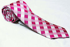 Donald Trump 100% Silk  Men's Tie Pink and White Fancy Natte Grid