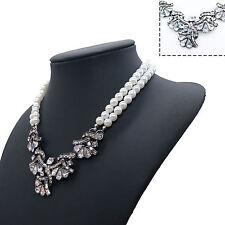 Fashion Women Crystal Pearl Chain Chunky Collar Pendant Choker Bib Necklace