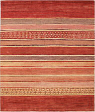 8X10 Hand-Knotted Gabbeh Carpet Tribal Red Fine Wool Area Rug D34169