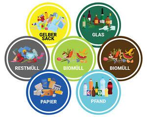 Mülltonnen Aufkleber, Mülltrennung Sticker Mülltonnen Abfall