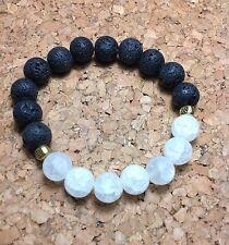 Healing Essential Oil Gemstone Lava Rock Bracelet W/Quartz Crystal & Spacers USA