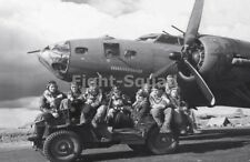 WW2 Picture Photo 1943 Air crew posing on Jeep in front of B-17F Our Gang 1788