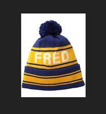 Fred Perry Ski Beanie # C5101 550 Navy & Yellow Wool