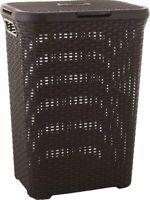 Laundry Basket 40L Curver Natural Rattan Style Scandinavian Brown Hamper Bin New