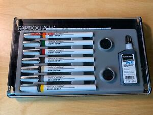 Koh-I-Noor Rapidograph Technical Drawing Pens 7 Pen Set 3165-SP-7 UNUSED