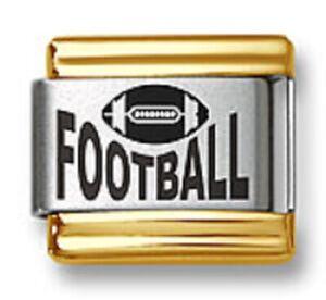 Italian Charm Bracelet Links Laser Football Sports Gold Trim Stainless Steel