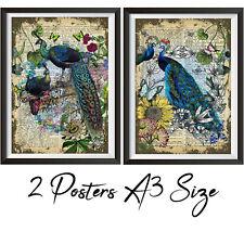 Peacocks posters wall art A3 Size, Wall decor Art Prints Set of 2 Peacocks